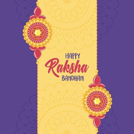 raksha bandhan, elegant bracelets of relation brothers and sisters indian festival vector illustration
