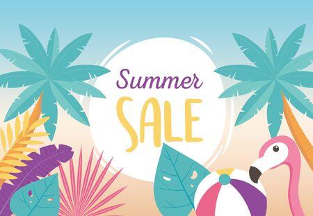 flamingo bird ball plams tree exotic tropical leaves, hello summer sale vector illustration