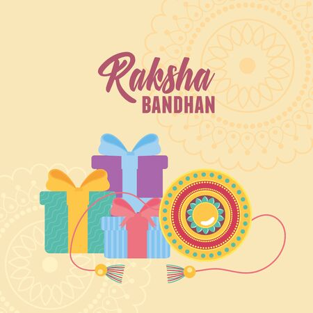 raksha bandhan, traditional bracelet with gift surprises of love brothers and sisters indian event vector illustration