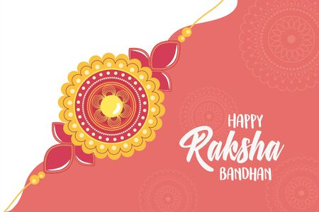 raksha bandhan, traditional indian wristband floral shape symbol of love between brothers and sisters vector illustration