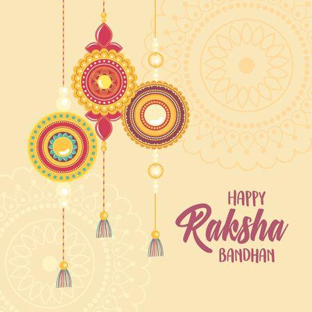 raksha bandhan, mandalas traditional bracelet of love brothers and sisters indian festival vector illustration