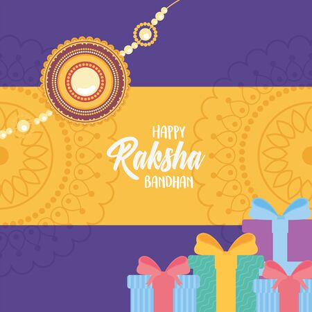 raksha bandhan, wristband gift boxes and mandala decoration of love brothers and sisters indian party vector illustration