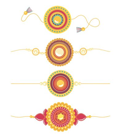 raksha bandhan, traditional bracelets creative relationship brothers and sisters indian vector illustration