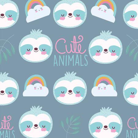 cartoon cute animals characters raccoon rainbows clouds lettering vector illustration Çizim