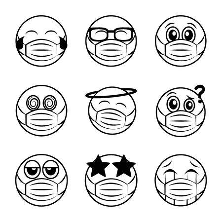 emoticon with medical mask coronavirus covid-19 pandemic, line cartoon style vector illustration icons set Vettoriali
