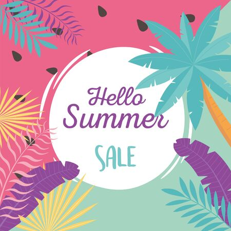hello summer, tropical leaves foliage exotic badge watermelon background vector illustration Banco de Imagens - 150084009