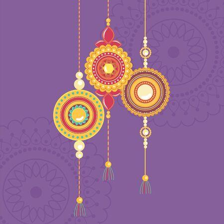 raksha bandhan, traditional indian wristband symbol of love between brothers and sisters vector illustration Illustration