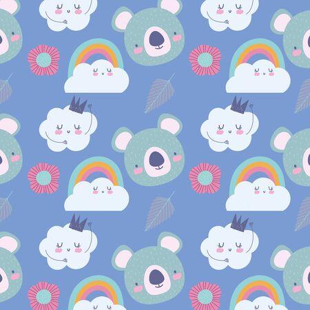 koala rainbow clouds crown decoration cartoon cute animals characters vector illustration