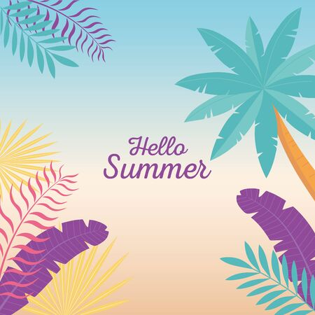 hello summer, tropical tree palm leaves foliage gradient background vector illustration Ilustração