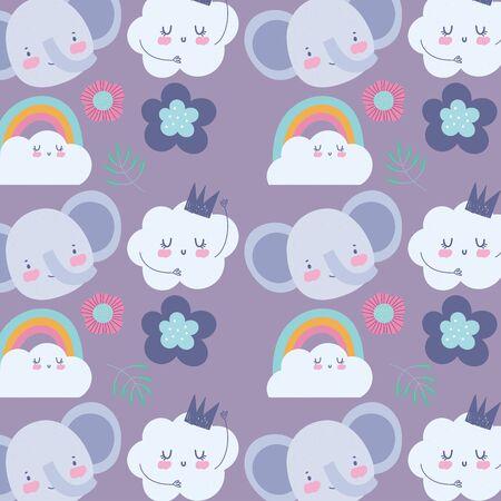 faces elephant flowers rainbow cloud cartoon cute animals characters background vector illustration Çizim