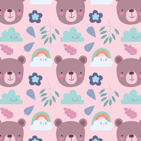 cartoon cute animals characters bear faces rainbow clouds leaves and flowers background vector illustration