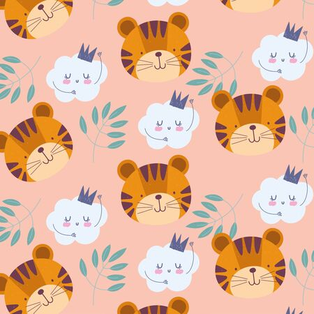 cartoon cute animals characters tiger faces clouds leaves background vector illustration Çizim