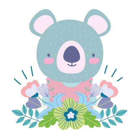 koala with flowers leaves decoration cartoon cute animal characters nature design vector illustration