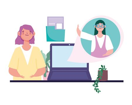 online meeting or conference during coronavirus covid 19, woman teaching girl a lesson vector illustration