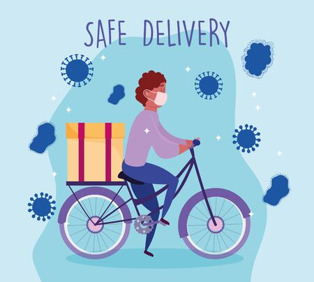 safe delivery at home during coronavirus covid-19, courier man with medical mask riding bike vector illustration Vectores