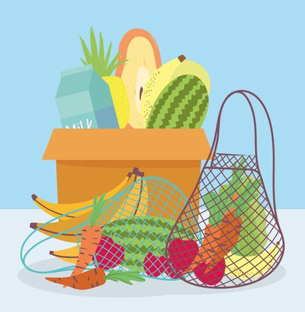 online market, cardboard box eco friendly bag with fresh fruits vegetables, food delivery in grocery store vector illustration