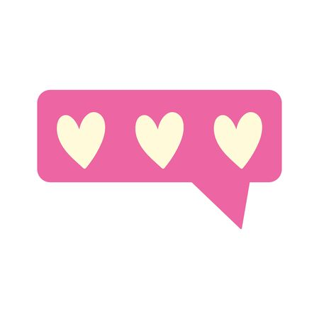 speech bubble love heart chat isolated icon design white background vector illustration