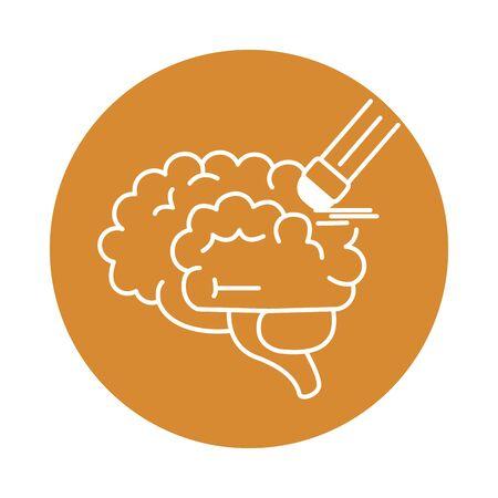 alzheimer disease, brain amnesia, decrease in mental human ability vector illustration color block style icon