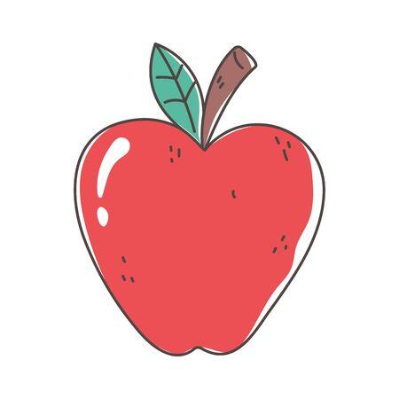 apple organic fruit fresh nutrition healthy food isolated icon design vector illustration Illustration
