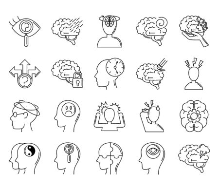 alzheimer disease, decrease in mental human ability icons set vector illustration line style