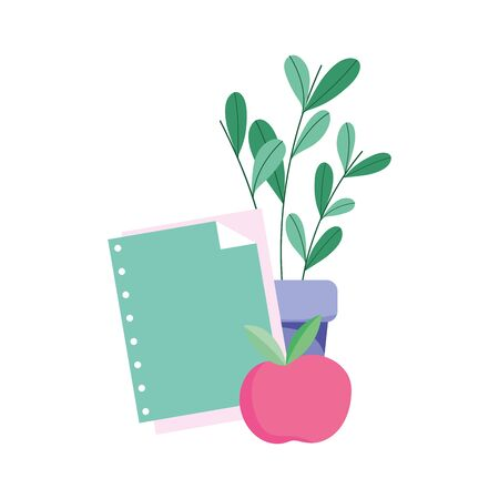 school sheets and apple isolated icon design white background vector illustration