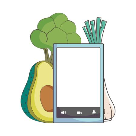 fresh market smartphone menu vegetables organic healthy food vector illustration