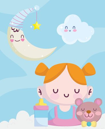 baby shower, little girl bear bottle feed moon and cloud decoration, announce newborn welcome card vector illustration