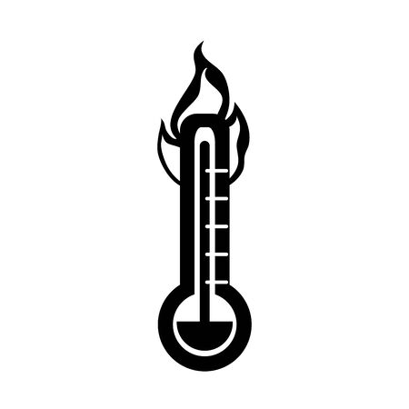 hot thermometer temperature fire in silhouette style isolated icon vector illustration
