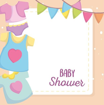 baby shower, little clothes fashion cartoon, little announce newborn welcome card vector illustration