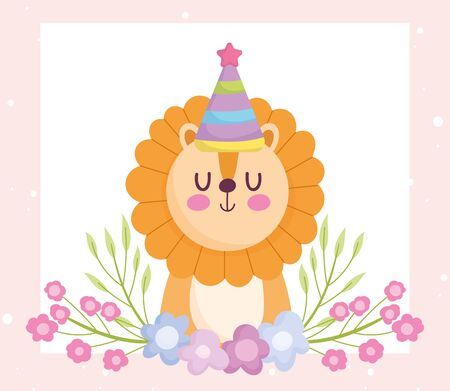 baby shower, cute lion with party hat and flowers cartoon, announce newborn welcome card vector illustration