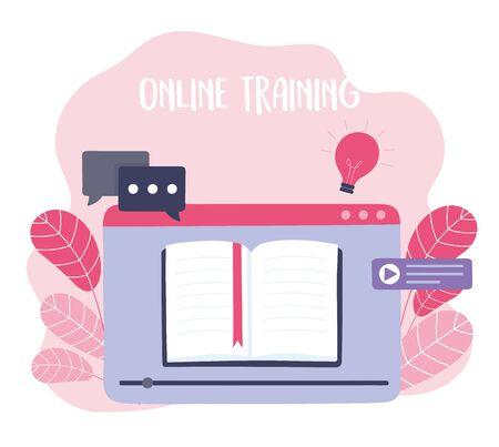 online training, ebook specialization tutorials, courses knowledge development using internet vector illustration