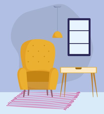 yellow chair table ceiling lamp window and carpet decoration vector illustration