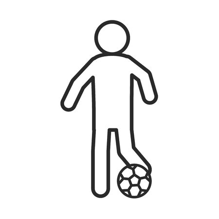 soccer game, player kicking ball league recreational sports tournament line style icon vector illustration