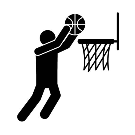 basketball game, player shooting in hoop recreation sport silhouette style icon vector illustration Vecteurs