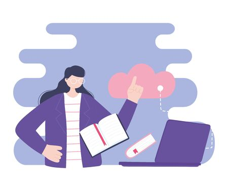online training, woman using laptop cloud computing data lesson, education and courses learning digital vector illustration
