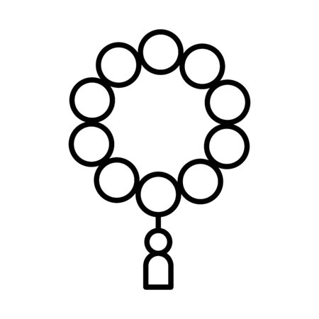 arabic rosary ramadan islamic celebration vector illustration line style icon