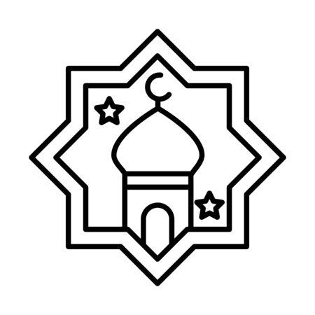 eid mubarak islamic religious mosque place vector illustration line style icon