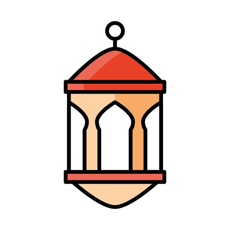 lantern ornament eid mubarak islamic religious celebration vector illustration line and fill icon