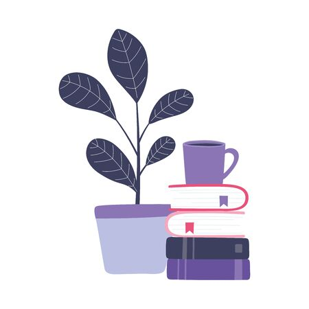 online training, coffee cup on books stacked and plant, education and courses learning digital vector illustration