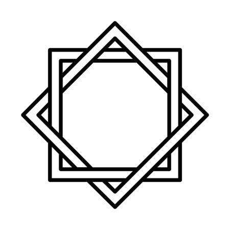 arabesque decoration eid mubarak islamic religious celebration vector illustration line style icon