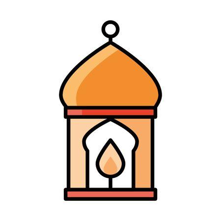 burning candle in lantern eid mubarak islamic religious celebration vector illustration line and fill icon Vectores