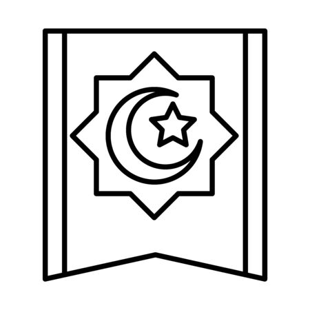 traditional carpet moon and star decoration eid mubarak islamic religious celebration vector illustration line style icon Foto de archivo - 150291584