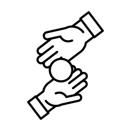 eid mubarak hands charity islamic religious celebration vector illustration line style icon