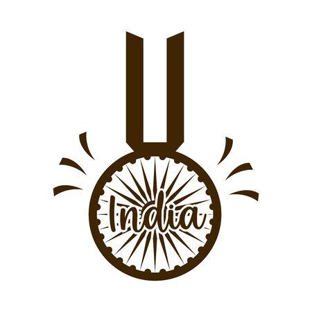 happy independence day india, flag pendant wheel celebration vector illustration silhouette style icon Foto de archivo - 150291246