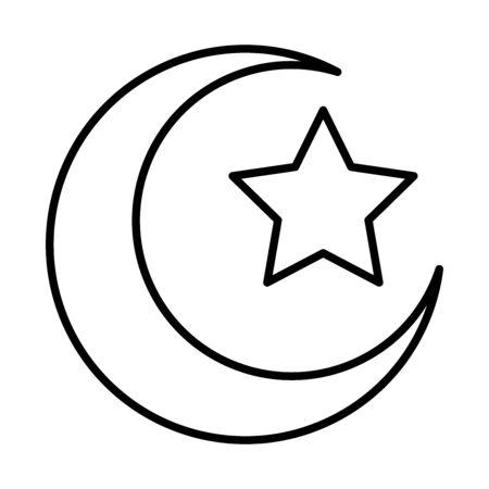 moon star eid mubarak islamic religious celebration vector illustration line style icon Vectores