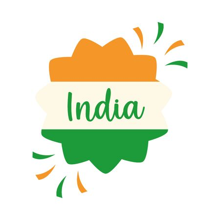 happy independence day india, flag badge celebration template vector illustration flat style icon Vectores