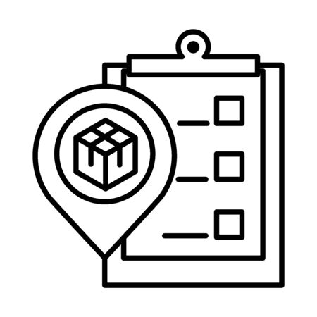 delivery packaging, logistics gps navigation pin cardboard box cargo distribution vector illustration line style icon