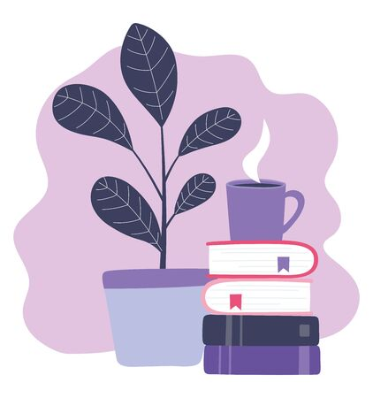 online training, stack of books coffee cup and plant, education and courses learning digital vector illustration Ilustracja