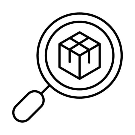delivery packaging, magnifier cardboard box cargo distribution, logistic shipment of goods vector illustration line style icon