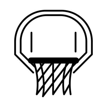 basketball game, hoop and net equipment recreation sport silhouette style icon vector illustration